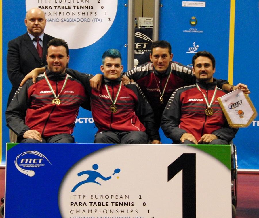 Team-Europameister 2013 (WK 3) v.l.n.r.: T. Brüchle, T. Schmidberger, Trainer M. Comparato, Jan Gürtler (RSC Berlin e. V.)