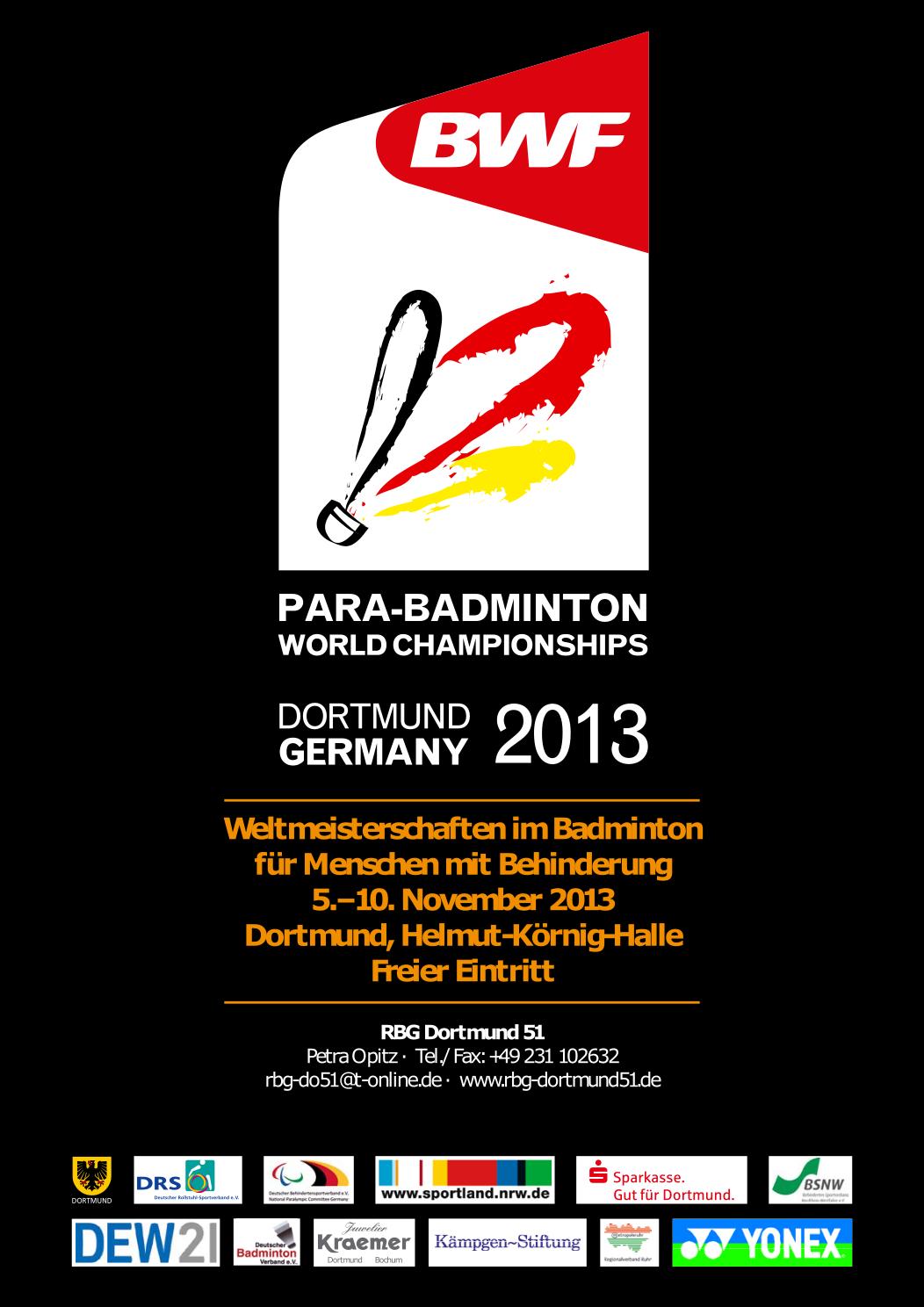 9. Para-Badminton-Weltmeisterschaften 2013 in Dortmund - Plakat
