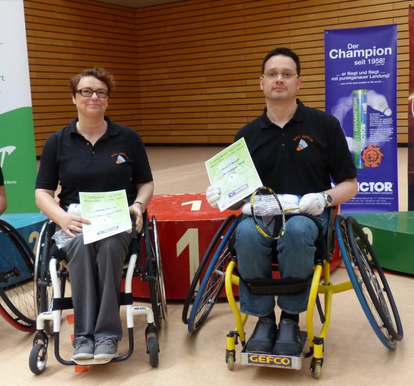 1. Integratives VICTOR-Badminton Turnier in Berlin - Sieger im Doppel Daniela Rudorf und Thomas Pausch (RSC Berlin)