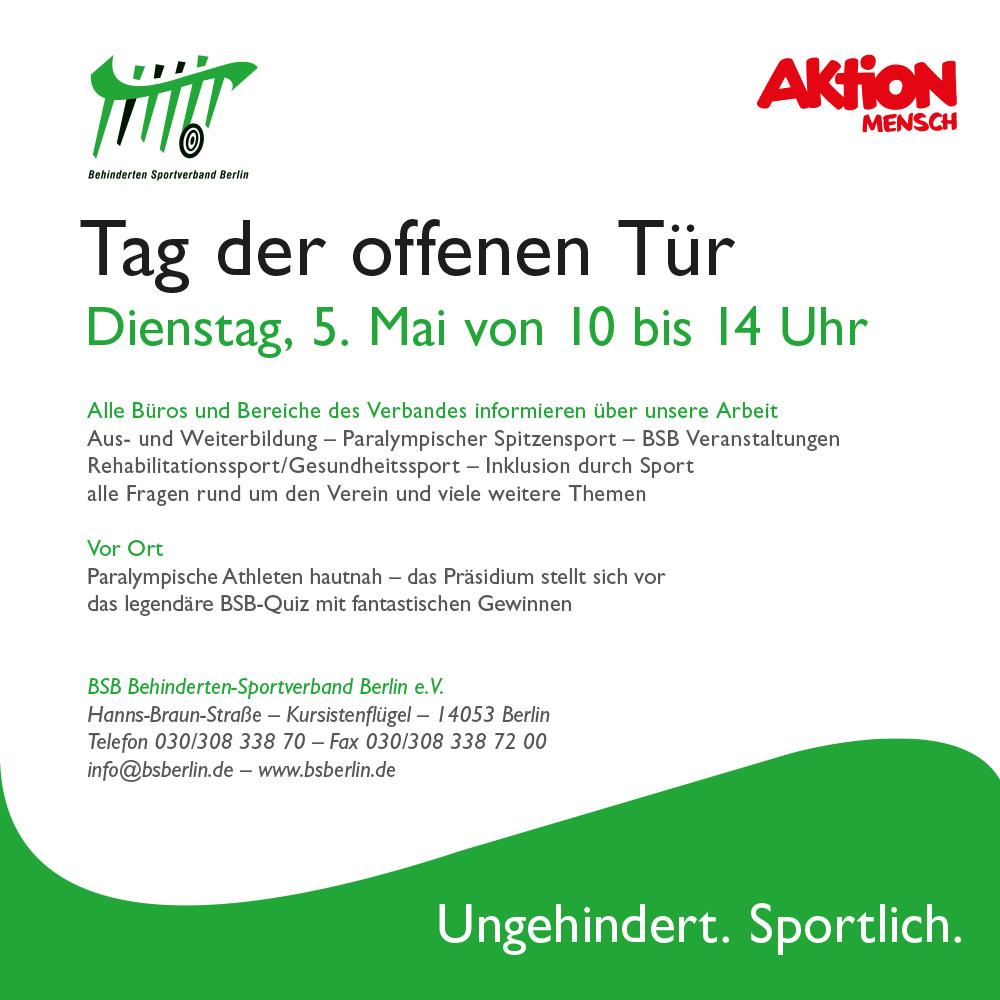 Behinderten- und Rehabilitations-Sportverband Berlin e.V. - Tag der offenen Tür - Plakat