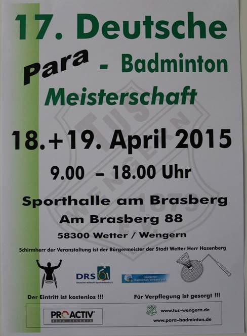 17. Deutsche Para-Badminton Meisterschaften 2015 in Wengern