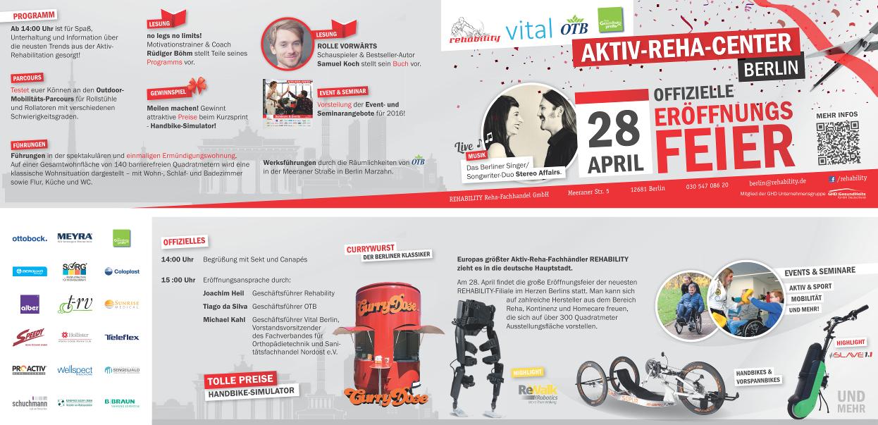 Eröffnung des Reha-Aktiv-Centers am 28.04.16 in Berlin - Flyer