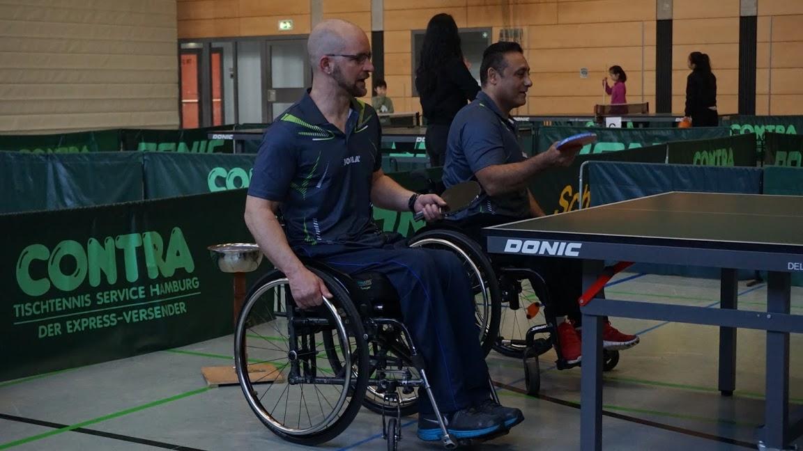Rollstuhl-Tischtennis - Regionalliga Nord - 3. Spieltag Saison in Berlin: RSC Berlin 2: Oliver Hauf und Adham El-Said