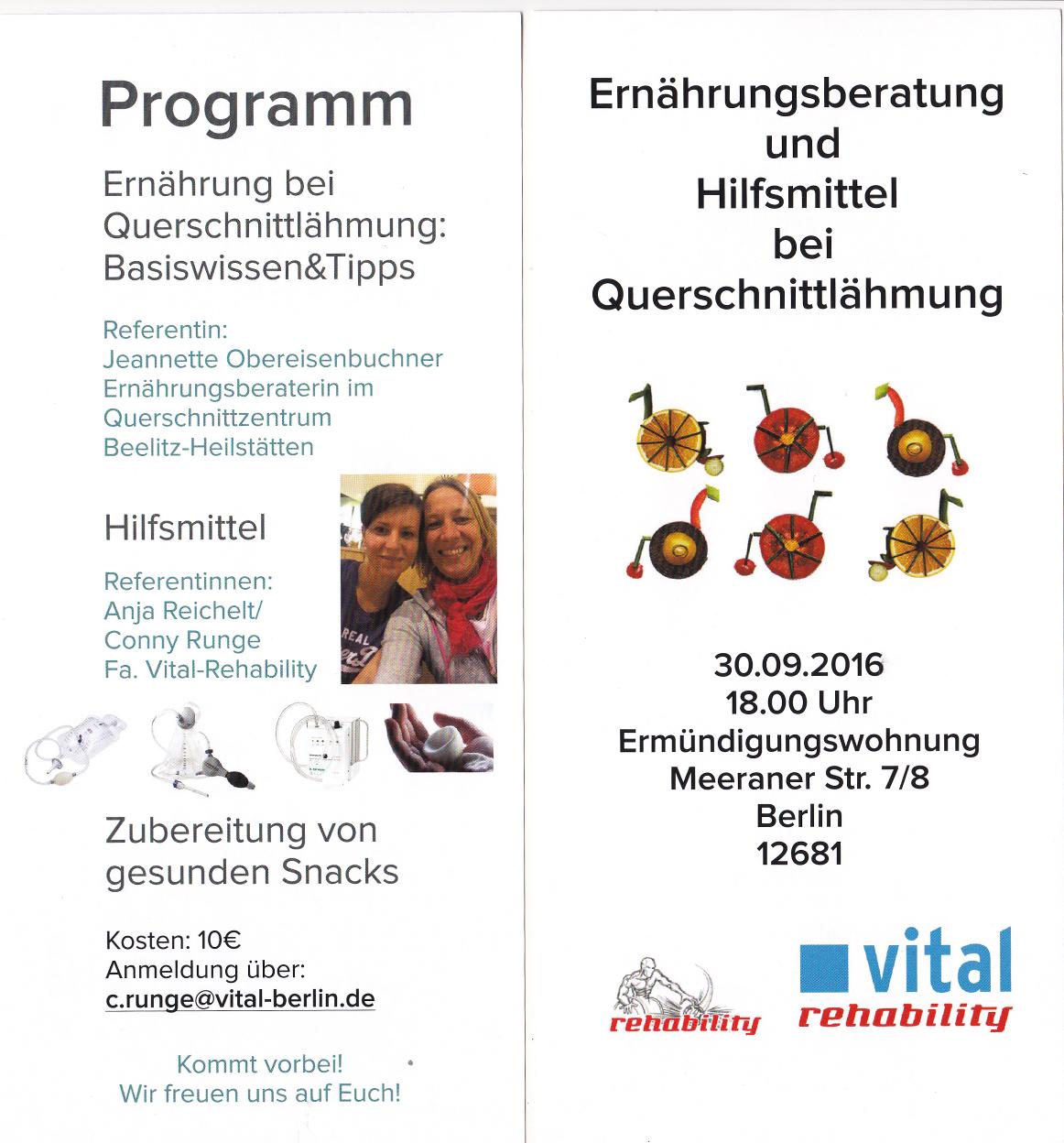 Veranstaltung 'Ernährung & Hilfsmittel bei Querschnittslähmung' bei Vital-Rehability