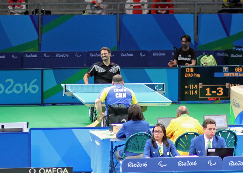 Paralympics 2016 in Rio de Janeiro (BRA) - Jan verliert 12:14 im fünften Satz gegen Zhao Ping (CHN)
