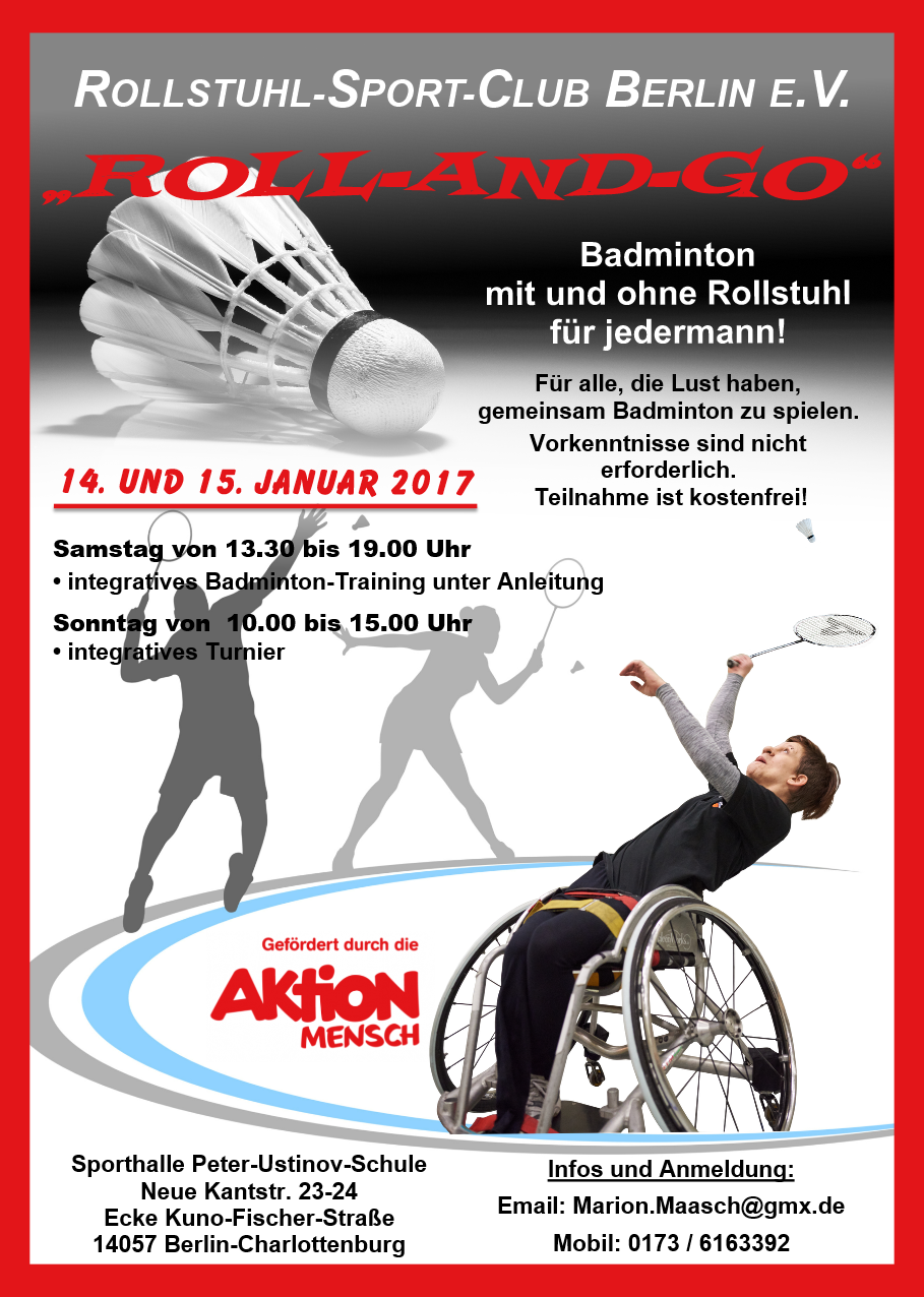 Roll-and-go - integratives Badminton mit und ohne Rollstuhl für jedermann!